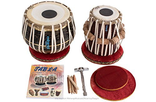 MAHARAJA Tabla Drum Set – 3KG Black Brass Bayan, Finest Dayan with Book, Cushions, Cover & Hammer (PDI-EA)