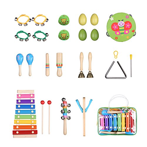 Kids Toddler Musical Instruments Set, Jocund Musical Instruments for Toddlers, Children, Girls, 18Pcs Mini Band Prime Wooden Baby Toddler Percussion Set Rhythm Xylophone Band Drum