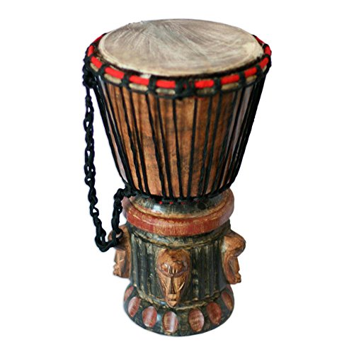 NOVICA Hand Carved Wood Goatskin Djembe Drum with Cotton Strap, Think Together'