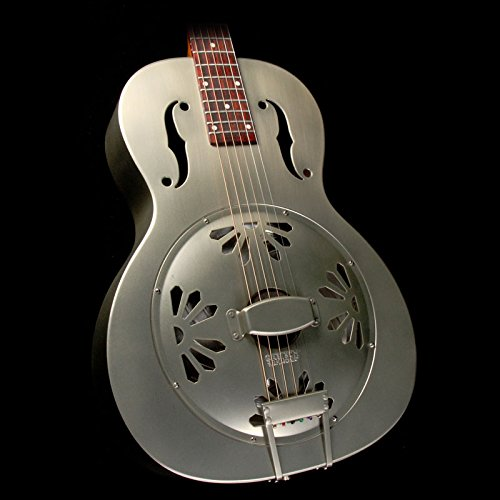 G9201 Honey Dipper Round-Neck, Brass Body Biscuit Cone Resonator Guitar, Shed Roof Finish