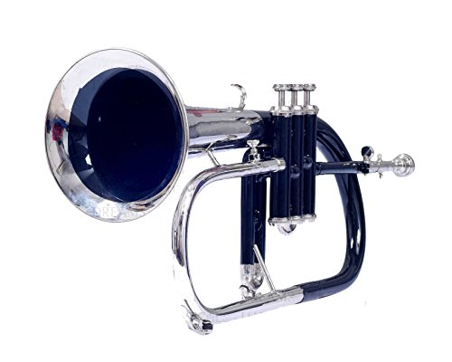 FLUGEL HORN Bb PITCH BLACK+NICKEL COLOR WITH FREE HARD CASE AND MP,NICELY TUNED