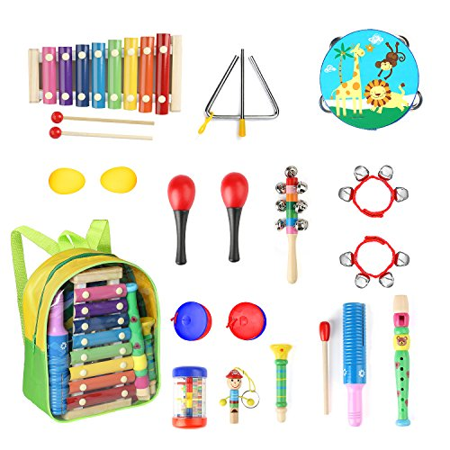 Toddle Musical Instruments- Eyssen 13 Types 17 pcs Percussion Instruments Toy for Toddles & Kids Ages 1-3, Musical Toys Set for Boys and Girls with Storage Backpack (17 pcs, Set)