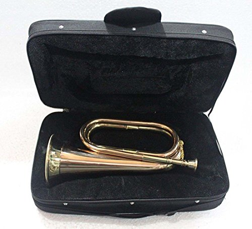 Bugle Bb High Pitch Brass Musical Instrument TUNABLE PROFESSIONAL BUGLE Brass & Copper Made With Cushioned Hard Case By S Chopra