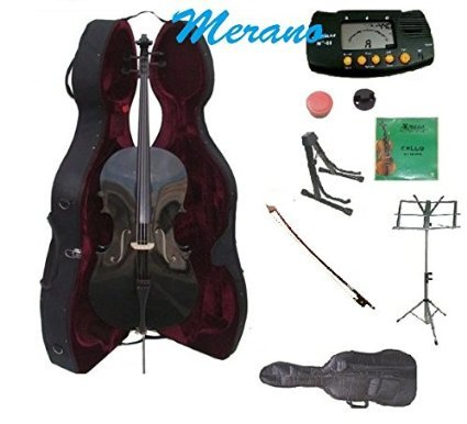 Merano 1/2 Size Black Cello with Hard Case, Bag and Bow+2 Sets of Strings+Cello Stand+Black Music Stand+Metro Tuner+Mute+Rosin