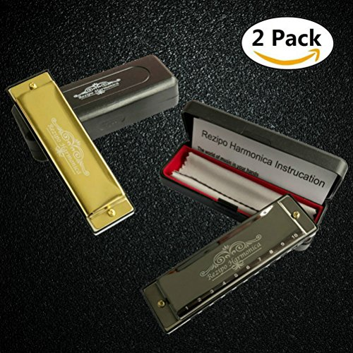 2 PCS Harmonica Standard 10 Hole 20 Tones Harmonica Key of C Blues for Beginner Kids Adult Students Children with One Year Warranty, 2 Pack Set Double, One Gold One Black By REZIPO