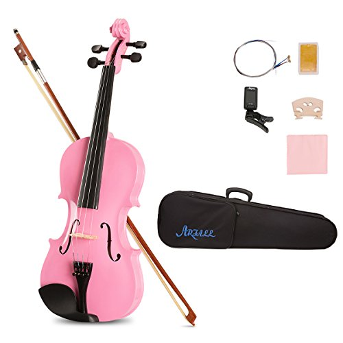 ARTALL 4/4 Full Size Handcrafted Acoustic Violin Beginner Kit for Student with Hard Case, Bow & Accessories, Glossy Pink