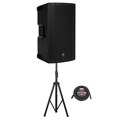 Mackie Thump12A Two-Way Powered Loudspeaker with Rok-It Tubular Speaker Stand and 25 ft. Pig Hog 8mm Mic XLR Cable