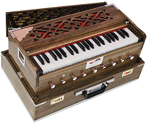 Harmonium Traveler/Portable/Folding Type By Kaayna Musicals, 9 Stops- 5 Main & 4 Drones, 3½ Octaves, Coupler, Rat Colour, Gig Bag, Bass-Male Reed – 440 Hz, Suitable for Yoga, Bhajan, Kirtan, Mantra
