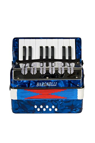 Baronelli Blue Beginner Educational 17 Key Junior Accordion with adjustable Straps, & DirectlyCheap(TM) Translucent Blue Medium Pick