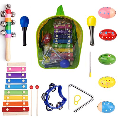 BGQ Kids Musical Instruments,Toddler Toys Wooden Percussion,Birthday Gifts, Educational Play Set, Learning Toys, Early Development Rhythm Xylophone with Carrying Bag,2 years old and up