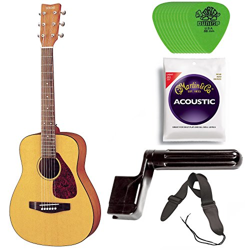 Yamaha JR1 3/4 Size Steel String Acoustic Guitar Bundle with Gig Bag, Strap, Strings, Winder and Picks
