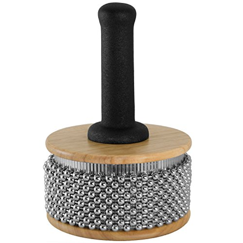 Tiger Large Wooden Cabasa – Rubber Coated Handle and Steel Ball Cylinder