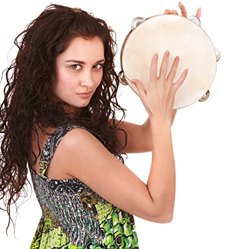 Tambourine 10 inch Double Row Jingles for Adults – Tamburine with Drum Head for Church, Kids
