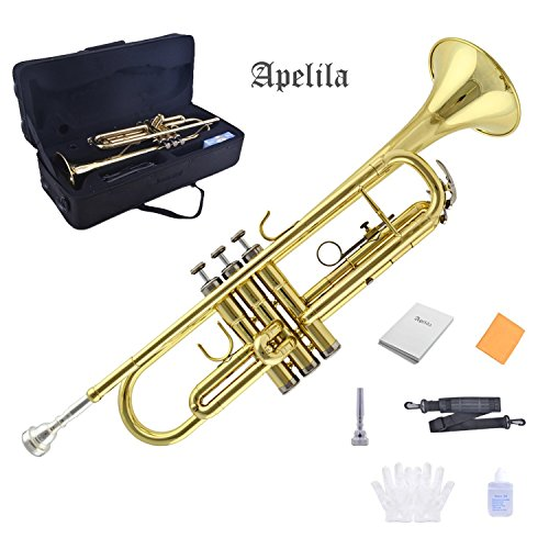 TRUMPET – Apelila Bb Key Brass Gold Lacquer with Care Case Valve+Mouthpiece+Strap+Gloves