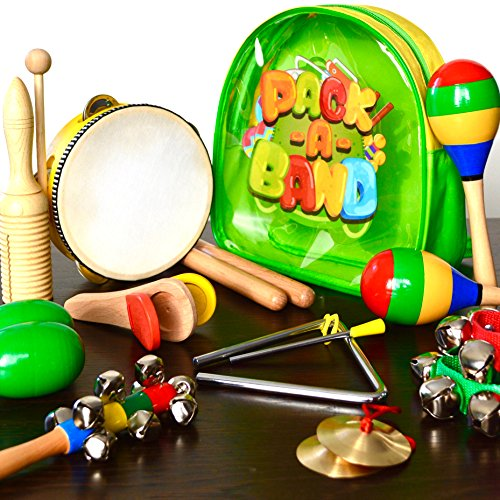 PACK A BAND, Kids Musical Instruments for Toddlers and Preschool Children, Wooden Toy Percussion Set for Boys and Girls with Storage Backpack, 3 Years old and up, 17 Pieces