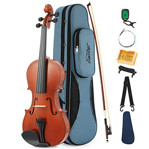Eastar EVA-1 Solid 3/4 Natural Violin Set For Beginner Student with Hard Case, Rosin, Shoulder Rest, Bow, Clip-on Tuner and Extra Strings