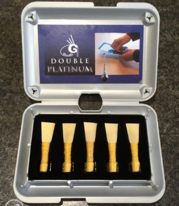 G1 Platinum Bagpipe Chanter Reeds, Set of 5 in Deluxe Box 2 Easy 2 Easy Plus 1 Medium