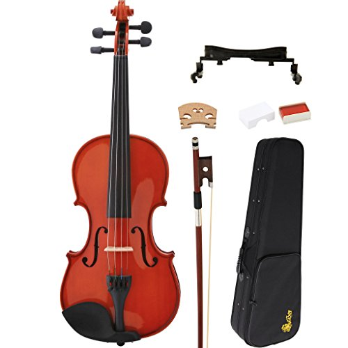 Kaizer Violin Acoustic Full Size 4/4 Classic Solid Wood with Hard Case Shoulder Rest Bow Rosin and Strings VLN-350VA
