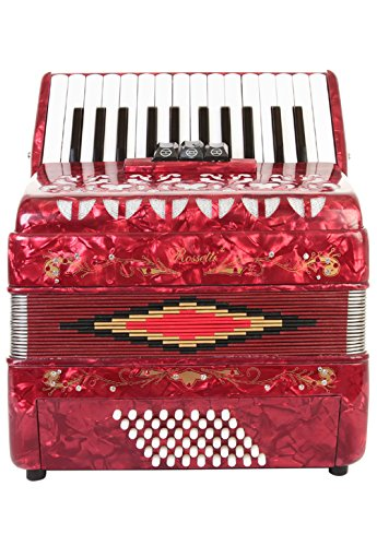 Rossetti Piano Accordion 48 Bass 16 Keys 3 Switches Red