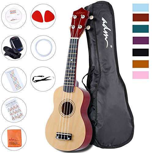ADM Beginner Ukulele 21 Inch Soprano Wood Starter Pack Bundle with Teaching CD Gig bag Tuner Fingerboard Sticker Chord card, Natural