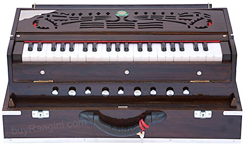 Harmonium Instrument, Monoj K Sardar MKS, In USA, Concert Quality, Folding, Double Reed, Dark Mahogany Color, 9 Stop, 3 1/2 Octaves, Padded Bag, Book, Indian Musical Instrument (US-PDI-BDC)