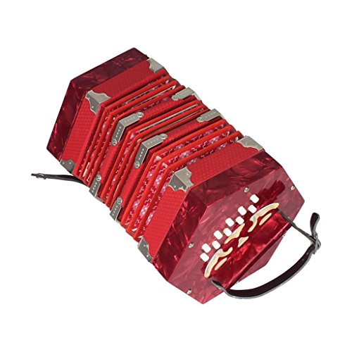 Baoblaze 20 Button Concertina Piano Accordion with Carrying Bag Musical Keyboard Instrument for Children Kids – Red