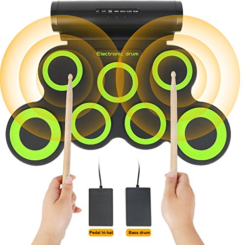 Electronic Drum Set,Portable Roll Up 7 Practice Pad,Electronic Drum Kit with Free Bonus Headphone,Cleaning Brush,Drum Sticks and Pedals,Up to 10H Playing Time,Birthday Gift For Kids,Beginner