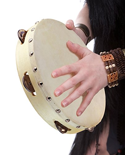 Tambourine 10 inch Drum with Metal Jingles – Hand Held Tamborine for Church Adult