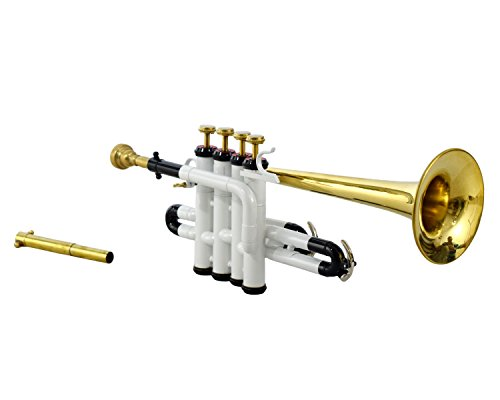 PICCOLO TRUMPET Bb PITCH WHITE COLOR + BRASS WITH CASE AND MP