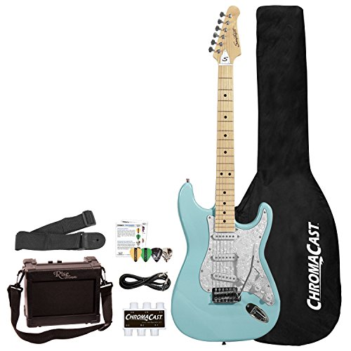 Sawtooth 6 String Right Handed Electric Guitar With Pickguard, Daphne Blue/Pearloid White (ST-ES-DBLP-BEG-KIT)
