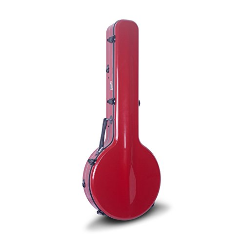 Crossrock CRF2000BJRD Fiberglass Banjo Case, Large Version, Fit For Almost All 5-string Resonator, Backpack Style in Red
