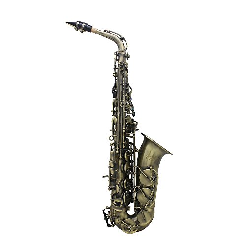ammoon Antique Finish Bend Eb E-flat Alto Saxophone Sax Abalone Shell Key Carve Pattern with Case Gloves Cleaning Cloth Straps Grease Brush