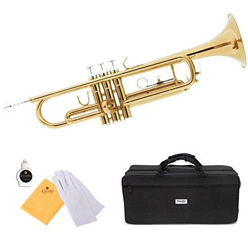 Mendini by Cecilio Brass Bb Trumpet with Durable Deluxe Case and 1 Year Warranty, MTT-L Gold Lacquer