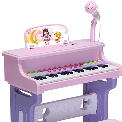 Keyboard Children's keyboard with microphone multifunction, birthday gift, beginner, boy, girl, toy, 3-6 years old, cartoon sticker, color spectrum, earphone, condenser microphone ( Color : Blue )