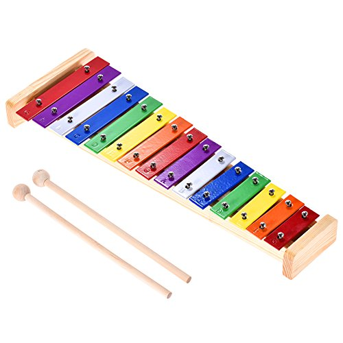 Walmeck Xylophone Glockenspiel wooden Aluminum Percussion Musical Instrument for Baby Kids Children Educational Toy 15 Tones with 2 Mallets