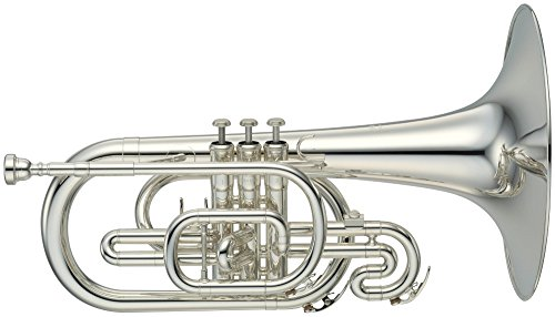 Yamaha YMP204MS Marching Mellophone, Silver-Plated Finish