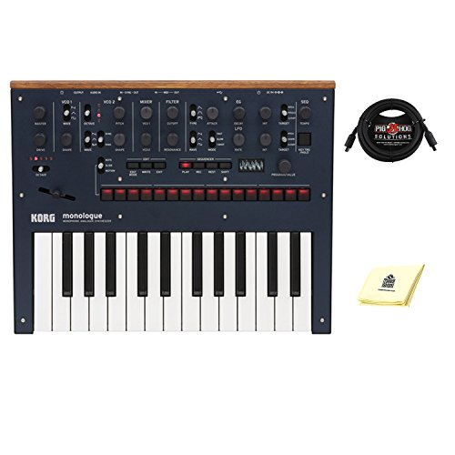 Korg Monologue 25 key Monophonic Analog Synthesizer with 16 step Sequencer with midi cable and Zorro sounds Synthesizer Polishing Cloth in Blue