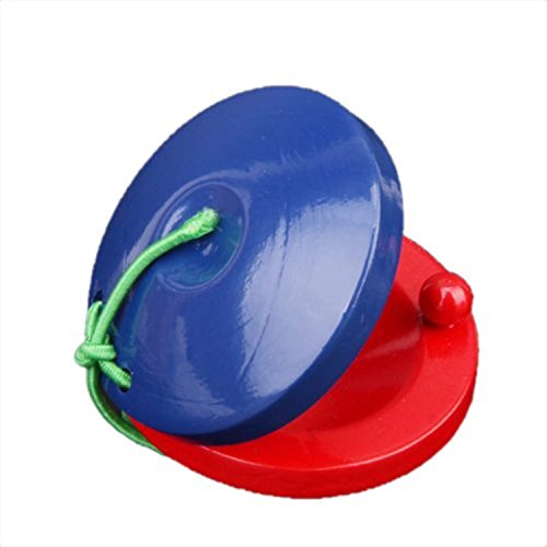 6 Pack Wooden Finger Castanets Blue and Red Musical Rhythm Toy for Kids