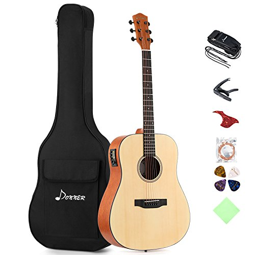 Donner DAG-1E Electric Acoustic Guitar Package Full-size 41'' Dreadnought Guitar Built-in Preamp with Bag Strap Tuner String