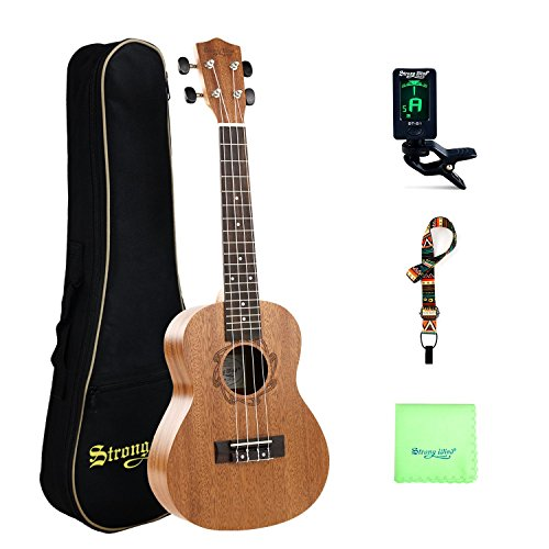 Concert Ukulele 23 Inch Mahogany Ukulele Starter Kit for Beginners with Gig Bag, Strap, Tuner and Cleaning Cloth for Kids Children Student Adult