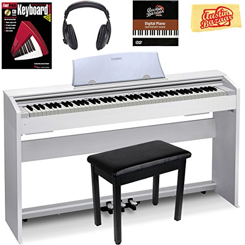Casio Privia PX-770 Digital Piano – White Bundle with Furniture Bench, Headphones, Instructional Book, Austin Bazaar Instructional DVD, and Polishing Cloth