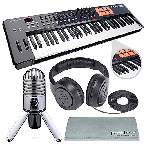 M-Audio Oxygen 49 MK IV 49-Key USB MIDI Keyboard/Drum Pad Controller with VIP Software Download and Samson Meteor Mic USB Microphone Accessory Bundle