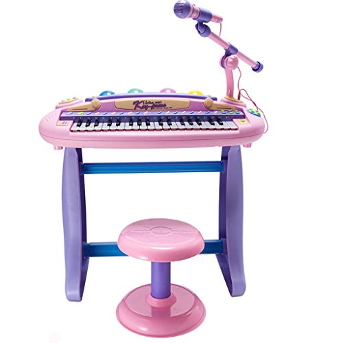 DUWEN Keyboard Stylish Creative Temperament Keyboard Early Childhood Music 1-3-6-9 Years Old Lighting Teaching With Microphone Environmental Materials Princess Pink Upgraded Version [37 Key]