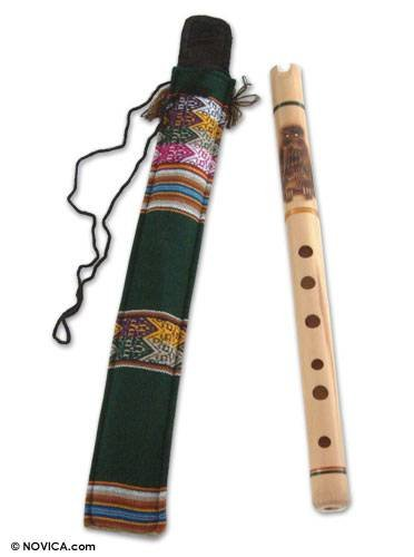 NOVICA Bamboo Andean Quena Flute with Owl and Textile Carrying Case, Night Owl'