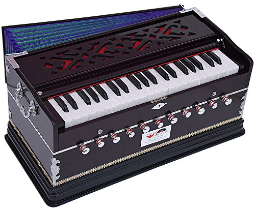 Harmonium Pro Grade By Kaayna Musicals, 11 Stop- 6 Main & 5 Drone, 3½ Octave, Dark Cherry Colour, Coupler, Gig Bag, Bass/Male- 440 Hz, Suitable for Yoga, Bhajan, Kirtan, Shruti, Mantra, Meditation
