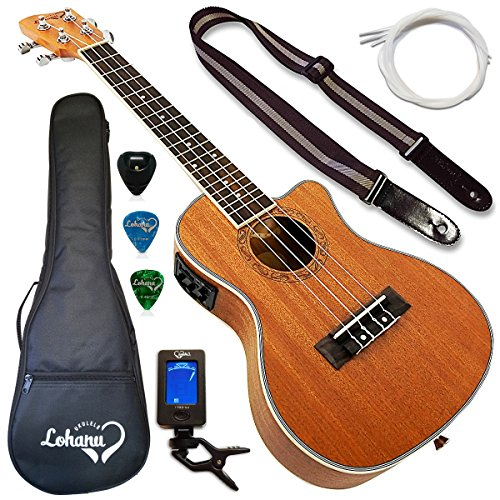 Lohanu Ukulele Cutaway Electric Concert With 3 Band EQ With All Accessories Included!