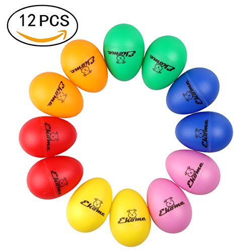 Plastic Egg Shakers, Ehome 12 Pcs Percussion Musical Egg Maracas Kids Toys with Assorted Colors.
