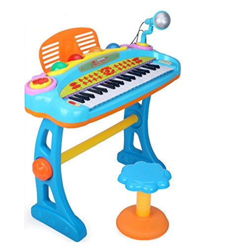 Keyboard Children's Keyboard With Microphone Toy Musical Instruments 3-12 Years Old Deluxe Edition (Color : Blue)