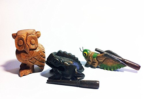 Wooden Percussion 3 Piece Set Frog, Cricket and Owl, 3 Inches