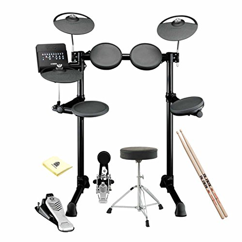 Yamaha DTX452K Complete Electronic Drum Kit included Double Braced Drum Throne, Drum Sticks and Zorro Sounds Drum Polishing Cloth